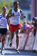 Yared Shegumo from Poland competes in men's marathon during the Sixth Day of the European Athletics Championships Zurich 2014 at Letzigrund Stadium in Zurich, Switzerland.<br /> <br /> Switzerland, Zurich, August 17, 2014<br /> <br /> Picture also available in RAW (NEF) or TIFF format on special request.<br /> <br /> For editorial use only. Any commercial or promotional use requires permission.<br /> <br /> Photo by © Adam Nurkiewicz / Mediasport