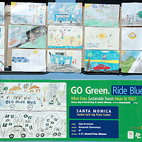 The City of Santa Monica's Office of Sustainability &amp; the Environment, Big Blue Bus and Sustainable Works<br /> announce the Grand Prize and Runner-up winners during the 2nd Annual Earth Day Student Poster Contest Awards Ceremony at Santa Monica beach on Thursday, May 13, 2010. The poster contest is titled, &quot;Go Green. Ride Blue. What Does Sustainable Transit Mean to YOU?.&quot; There are 4 age group categories on 4 Big Blue Buses<br /> <br /> The purpose of the 2nd Annual Earth Day Poster Contest is to raise awareness around Santa Monica's Sustainable City Plan, which was created to enhance our resources, prevent harm to the natural environment and human health, and benefit the social and economic well- being of the community for the sake of current and future  generations. The contest theme specifically highlighted the Transportation goal area of the Plan.<br /> <br /> This year's contest was a big success with 442 K-12th poster entries from 9 Santa Monica schools. <br /> The Grand Prize poster winners will be displayed on the Big Blue Bus exterior curbside ad space and the two runner-ups in each age group category will be displayed on the Big Blue Bus interior ad space for one month.<br /> <br /> The contest poster winners and runners up are: Nell Kerndt, Owen Rappoport, Lotus Kaufman, Gigi Grossman, Mary Polhemus, Katie Osaki, Shayan Chetty, Lezlie Rueda, Campbell Affleck, Chelsea Palmer, Samantha Sutter, and Brandon Kudo.