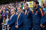 DUBLIN, Ierland - Nederland, voetbal, interland, oranje, oefenduel, 27-05-2016, Aviva Stadium, Nederland coach Danny Blind (2L), Nederland assistent coach Dick Advocaat (L), Nederland assistent coach Ruud van Nistelrooy (R), Nederland assistent coach Marco van Basten (2R).