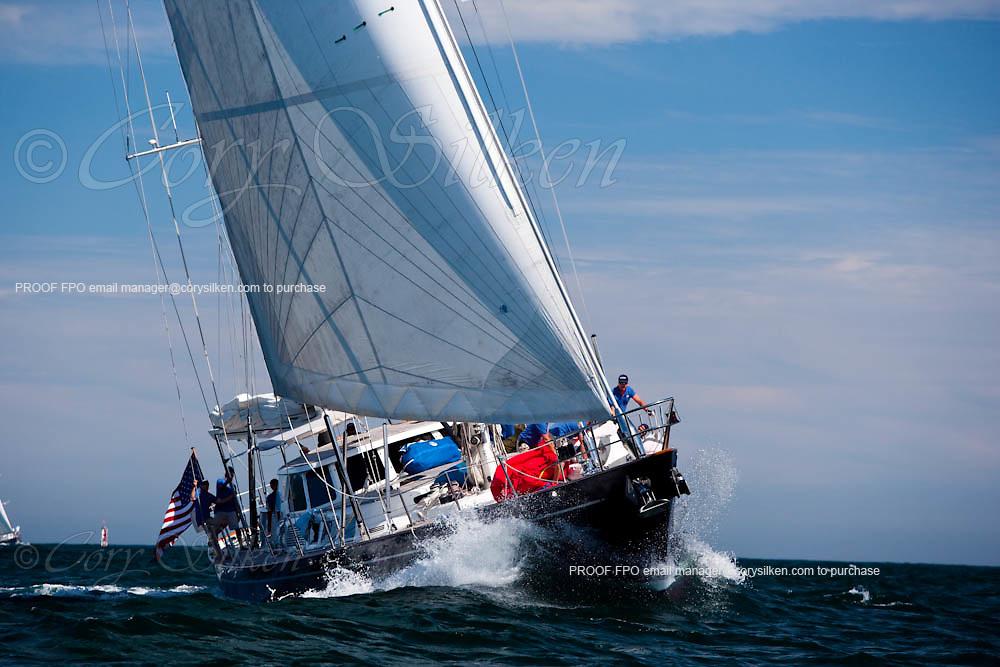 Avalon sailing in race 2 at the Newport Bucket Regatta.