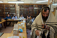 Men studying the Torah during a Kollel at the Tomb of the Partriarchs (Ma'arat HaMachpela)..Hebron, Israel. 01/11/2007.Photo © J.B. Russell/Blue Press