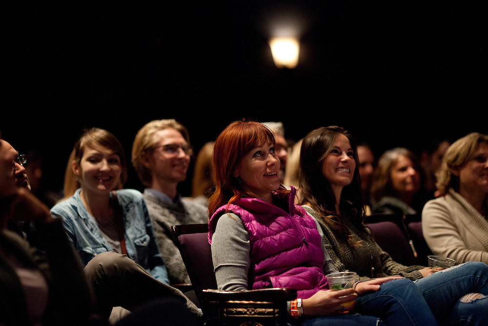 Audience members listen as Iowa magician Nate Staniforth discusses his approach to performing at The Englert Theater in Iowa City, Iowa on Friday, November 6, 2015 during the Witching Hour Festival. He says he spent nearly 400 hours to learn his first trick, in which he made  coin disappear from his closed fist.