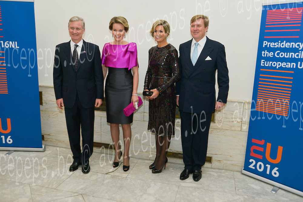 King Willem-Alexander and Queen Maxima from Netherland during the opening concert van the Netherland for the Presidency of the Council of the European Union.<br /> Pics: Queen Maxima, King Philippe,King Wilem-Alexander, Queen Mathilde,  22 january 2016, Belgium