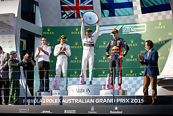 March 17, 2019 - Albert Park, VIC, U.S. - ALBERT PARK, VIC - MARCH 17: Mercedes-AMG Petronas Motorsport driver Valtteri Bottas (77) holds up the winners trophy at The Australian Formula One Grand Prix on March 17, 2019, at The Melbourne Grand Prix Circuit in Albert Park, Australia. (Photo by Speed Media/Icon Sportswire) (Credit Image: © Steven Markham/Icon SMI via ZUMA Press)