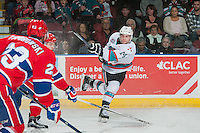 KELOWNA, CANADA - FEBRUARY 27: Rourke Chartier #14 of Kelowna Rockets takes a shot against the Spokane Chiefs on February 27, 2016 at Prospera Place in Kelowna, British Columbia, Canada.  (Photo by Marissa Baecker/Shoot the Breeze)  *** Local Caption *** Rourke Chartier;