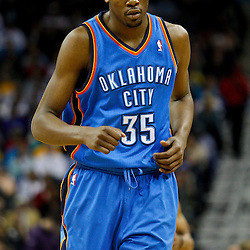 January 24,  2011; New Orleans, LA, USA; Oklahoma City Thunder small forward Kevin Durant (35) against the New Orleans Hornets during the second half at the New Orleans Arena. The Hornets defeated the Thunder 91-89. Mandatory Credit: Derick E. Hingle