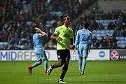 Peterborough United forward Ivan Toney (17) turns to celebrate his goal during the EFL Sky Bet League 1 match between Coventry City and Peterborough United at the Ricoh Arena, Coventry, England on 23 November 2018.