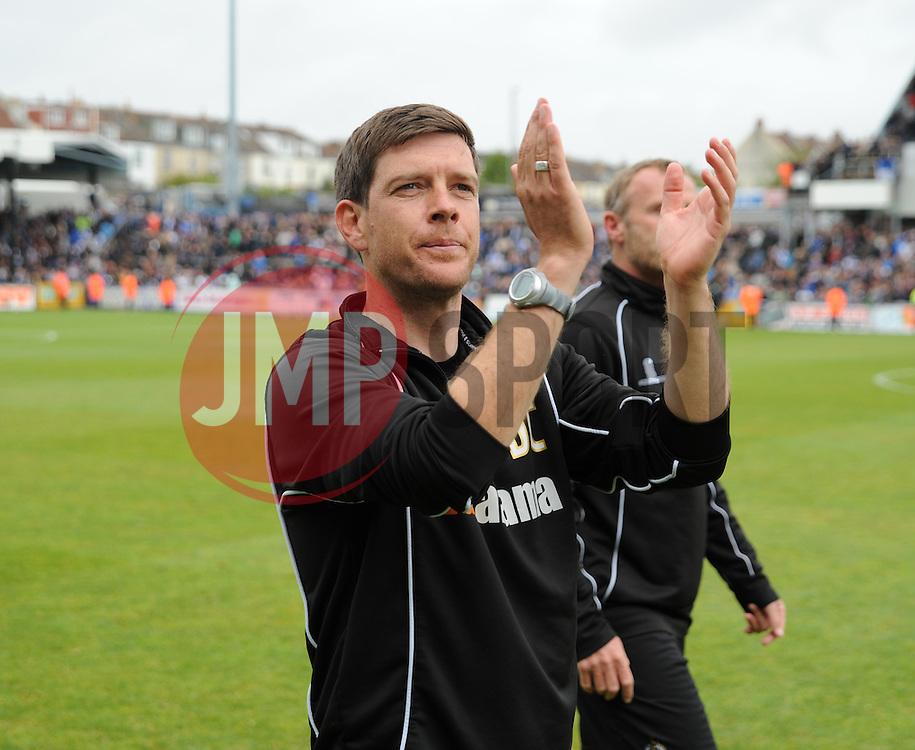 Bristol Rovers Manager, Darrell Clarke applauds fans after the final whistle. - Photo mandatory by-line: Nizaam Jones /JMP - Mobile: 07966 386802 - 03/05/2015 - SPORT - Football - Bristol - Memorial Stadium - Bristol Rovers v Forest Green Rovers - Vanarama Football Conference.
