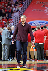 11 February 2017: Brock Stewart a ISU and NCHS alum and a pitcher for the LA Dodgers gets recognition for his achievements in Major League Baseball during a College MVC (Missouri Valley conference) mens basketball game between the Bradley Braves and Illinois State Redbirds in  Redbird Arena, Normal IL