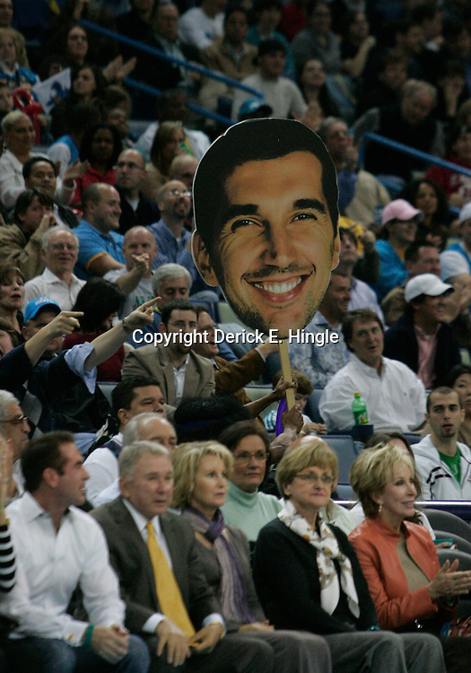 "28 January 2009:  A ""Peja Head"" is carried through the crowd after New Orleans Hornets forward Peja Stojakovic (16) (not pictured) hit a three pointer during a 94-81 win by the New Orleans Hornets over the Denver Nuggets at the New Orleans Arena in New Orleans, LA. The Hornets wore special throwback uniforms of the former ABA franchise the New Orleans Buccaneers for the game as they honored the Bucs franchise as a part of the NBA's Hardwood Classics series. ."