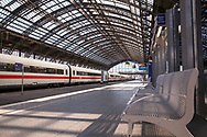 Coronavirus / Covid 19 outbreak, April 7th. 2020. Empty platforms and only few trains and travellers at the main station, Cologne, Germany.<br /> <br /> Coronavirus / Covid 19 Krise, 7. April 2020. Leere Bahnsteige und nur wenige Zuege und Reisende am Hauptbahnhof, Koeln, Deutschland.