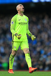 19th March 2017 - Premier League - Manchester City v Liverpool - Man City goalkeeper Wilfredo Caballero celebrates their 1st goal - Photo: Simon Stacpoole / Offside.