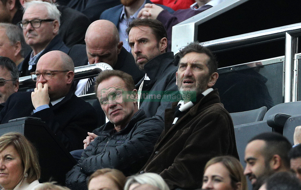 "England manager Gareth Southgate, Sting and Jimmy Nail during the Premier League match at St James' Park, Newcastle. PRESS ASSOCIATION Photo. Picture date: Saturday October 21, 2017. See PA story SOCCER Newcastle. Photo credit should read: Owen Humphreys/PA Wire. RESTRICTIONS: EDITORIAL USE ONLY No use with unauthorised audio, video, data, fixture lists, club/league logos or ""live"" services. Online in-match use limited to 75 images, no video emulation. No use in betting, games or single club/league/player publications."