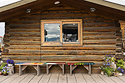 A restaurant in a log cabin on Homer Spit on Kamishak Bay in Homer, Alaska.