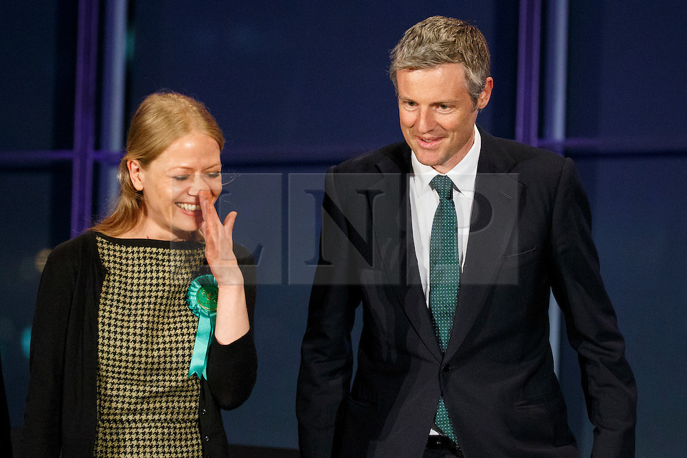 © Licensed to London News Pictures. 07/05/2016. London, UK. London Mayoral candidates Green Party's SIAN BERRY and Conservatives ZAC GOLDSMITH reacting to announcement of the election results at City Hall in London on Saturday, 7 May 2016. Labour MP Sadiq Khan has declared his victory and accused his Conservative counterpart, Zac Goldsmith MP of using underhand tactics during the campaign. Photo credit: Tolga Akmen/LNP
