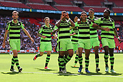 Forest Green Rovers Kaiyne Woolery(14) scores a goal 1-0 and celebrates with the team during the Vanarama National League Play Off Final match between Tranmere Rovers and Forest Green Rovers at Wembley Stadium, London, England on 14 May 2017. Photo by Shane Healey.