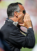 SAN FRANCISCO - SEPTEMBER 17:  Head Coach Mike Nolan of the San Francisco 49ers yells toward his defense during the game against the St. Louis Rams at Monster Park on September 17, 2006 in San Francisco, California. The Niners defeated the Rams 20-13. ©Paul Anthony Spinelli *** Local Caption *** Mike Nolan