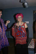 Zandra Rhodes. Zandra Rhodes- A Lifelong Affair with textiles.-Zandra Rhodes retrospective exhibition. Fashion and Textile museum. 1 February 2005. ONE TIME USE ONLY - DO NOT ARCHIVE  © Copyright Photograph by Dafydd Jones 66 Stockwell Park Rd. London SW9 0DA Tel 020 7733 0108 www.dafjones.com