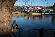 """Henley, Oxfordshire. England General Views Henley Town  looking across, the  River Thames from the Oxfordshire bank towards Leander Club on the Berkshire side <br /> <br /> The Bronze """"Ama of the Thames"""" stands on the Red Lion Lawn next to Henley Bridge in Oxfordshire. <br /> <br /> Thursday  01/12/2016<br /> © Peter SPURRIER<br /> LEICA CAMERA AG  LEICA Q (Typ 116)  f1.7  1/3200sec  35mm  7.7MB"""