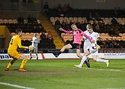 Scotland's Oliver McBurnie just cna't reach a cross - Scotland under 21s v Estonia international challenge match at St Mirren Park, St Mirren. Pic David Young<br />  <br /> - © David Young - www.davidyoungphoto.co.uk - email: davidyoungphoto@gmail.com