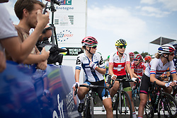 Lotta Lepistö (FIN) of Cervélo-Bigla Cycling Team waits for the start of the 121.5 km road race of the UCI Women's World Tour's 2016 Grand Prix Plouay women's road cycling race on August 27, 2016 in Plouay, France. (Photo by Balint Hamvas/Velofocus)