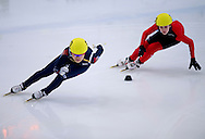 (L) Kim Alang of South Korea and (R) Anna Seidel of Germany compete in the Women's 500 Meters on day two of the 2013 ISU Short Track Speed Skating Junior World Championships at Torwar Ice Hall on February 23, 2013 in Warsaw, Poland...Poland, Warsaw, February 23, 2013...Picture also available in RAW (NEF) or TIFF format on special request...For editorial use only. Any commercial or promotional use requires permission...Photo by © Adam Nurkiewicz / Mediasport