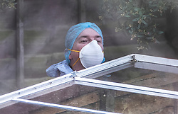 © Licensed to London News Pictures. 07/03/2019. London, UK. A forensics officer works in the back garden of a property in Kew, West London, where the body of a woman was discovered by police in a shallow grave. Laureline Garcia-Bertaux, 34, from Richmond, was reported missing after she did not turn up for work on Monday, 4 March. . Photo credit: Peter Macdiarmid/LNP