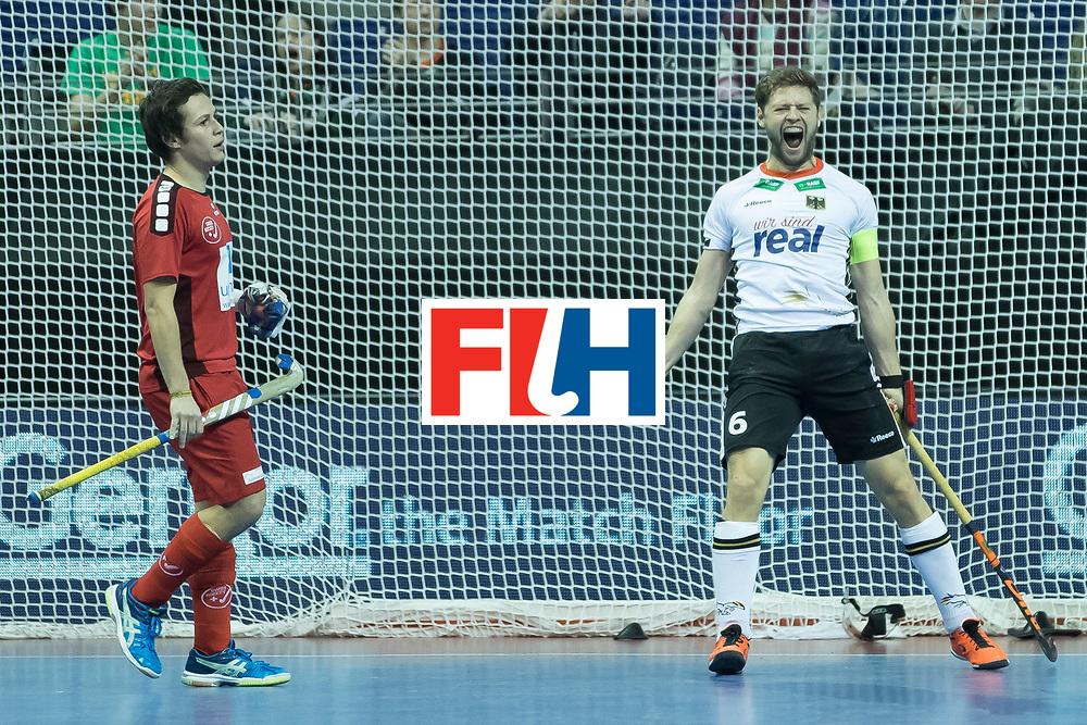 Hockey, Seizoen 2017-2018, 09-02-2018, Berlijn,  Max-Schmelling Halle, WK Zaalhockey 2018 MEN, Germany - Switzerland 3-0, goal Martin Häner. Worldsportpics copyright Willem Vernes