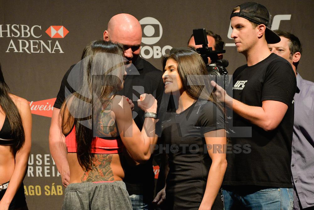 RIO DE JANEIRO, RJ, 31.07.2015 - UFC-RJ - As lutadoras Claudia Gadelha e Jessica Aguilar se encaram durante a pesagem do UFC 190: Rousey vs. Correia, na HSBC Arena, na zona oeste, nesta sexta-feira (31). (Foto: João Mattos / Brazil Photo Press)