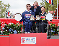 Rob Diver with David  Weir GBR and Manuela Schar SUI during the presentation for the World Para Athletics Marathon World Cup 2017. The Virgin Money London Marathon, 23rd April 2017.<br /> <br /> Photo: Ben Queenborough for Virgin Money London Marathon<br /> <br /> For further information: media@londonmarathonevents.co.uk