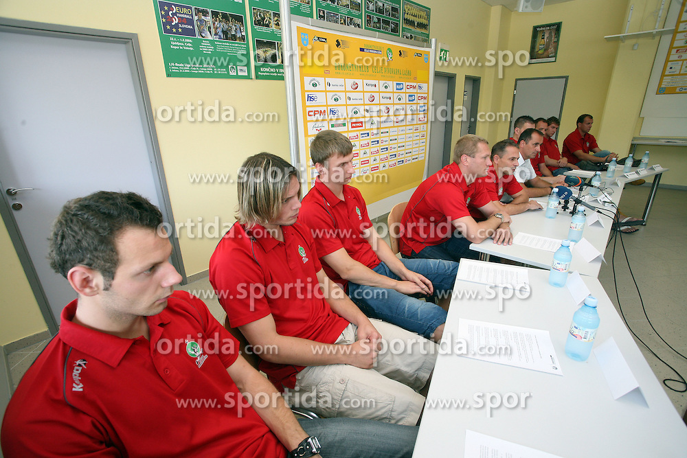 Press conference (L Boris Vodisek and Tomas Reznicek) of handball club RK Celje Pivovarna Lasko before new season 2008/2009, on September 2, 2008 in Celje, Slovenia. (Photo by Vid Ponikvar / Sportal Images)