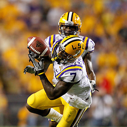 Sep 18, 2010; Baton Rouge, LA, USA; LSU Tigers cornerback Patrick Peterson (7) intercepts a pass against the Mississippi State Bulldogs during the second half at Tiger Stadium. The LSU Tigers defeated the Mississippi State Bulldogs 29-7. Mandatory Credit: Derick E. Hingle