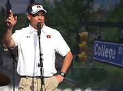 AUBURN, AL - APRIL 20:  Auburn head football coach Gus Malzahn addresses the crowd during the Auburn Oaks at Toomer's Corner Celebration on April 20, 2013 in Auburn, Alabama.  (Photo by Mike Zarrilli/Getty Images)