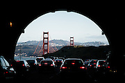 San Francisco, April 5 2012 - Traffic jam before the entrance of the Golden Gate Bridge.