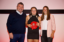 NEWPORT, WALES - Saturday, May 19, 2018: Hollie Smith is presented with her Under-16's cap by Osian Roberts (left) and Lauren Dykes (right) during the Football Association of Wales Under-16's Caps Presentation at the Celtic Manor Resort. (Pic by David Rawcliffe/Propaganda)