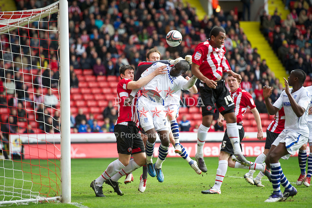 SHEFFIELD, ENGLAND - Saturday, March 17, 2012: Tranmere Rovers' Enoch Showunmi in action against Sheffield United during the Football League One match at Bramall Lane. (Pic by David Rawcliffe/Propaganda)