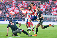 Atletico de Madrid Filipe Luis and Athletic Club San Jose during La Liga match between Atletico de Madrid and Athletic Club and Wanda Metropolitano in Madrid , Spain. February 18, 2018. (ALTERPHOTOS/Borja B.Hojas)