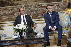 Minister of Economy, Emmanuel Macron. French President Francois Hollande during the presentation of the 34 plans for the new industrial France on September 9, 2014 at the Elysee Palace in Paris. Photo by Allard/Pool/ABACAPRESS.COM