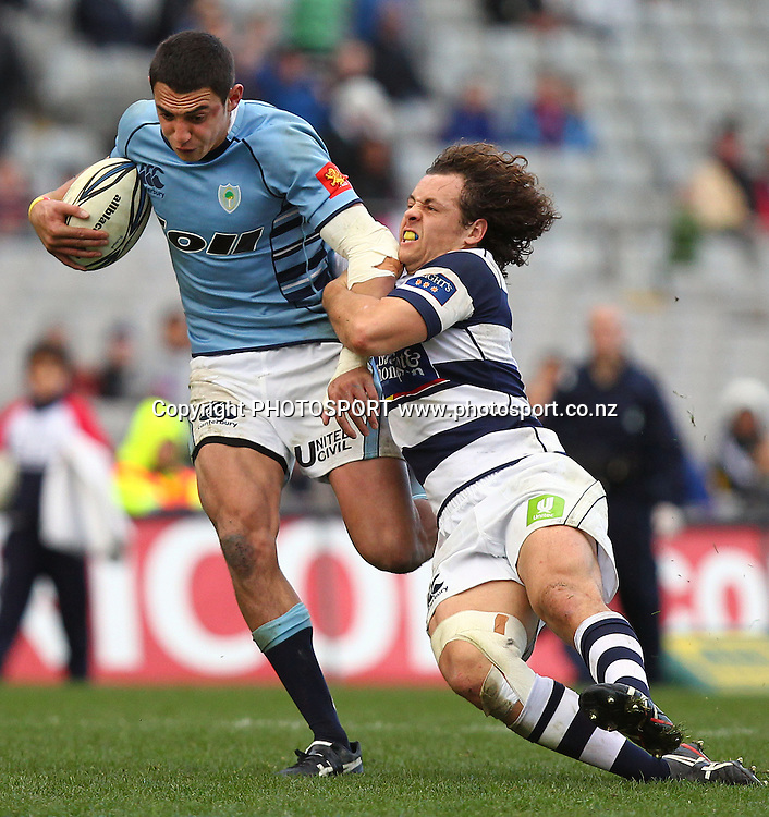 Northland's Bryce Heem is tackled by Auckland's Dave Thomas. ITM Cup rugby union match, Auckland v Northland at Eden Park, Auckland, New Zealand. Sunday 22nd August 2010. Photo: Anthony Au-Yeung/PHOTOSPORT