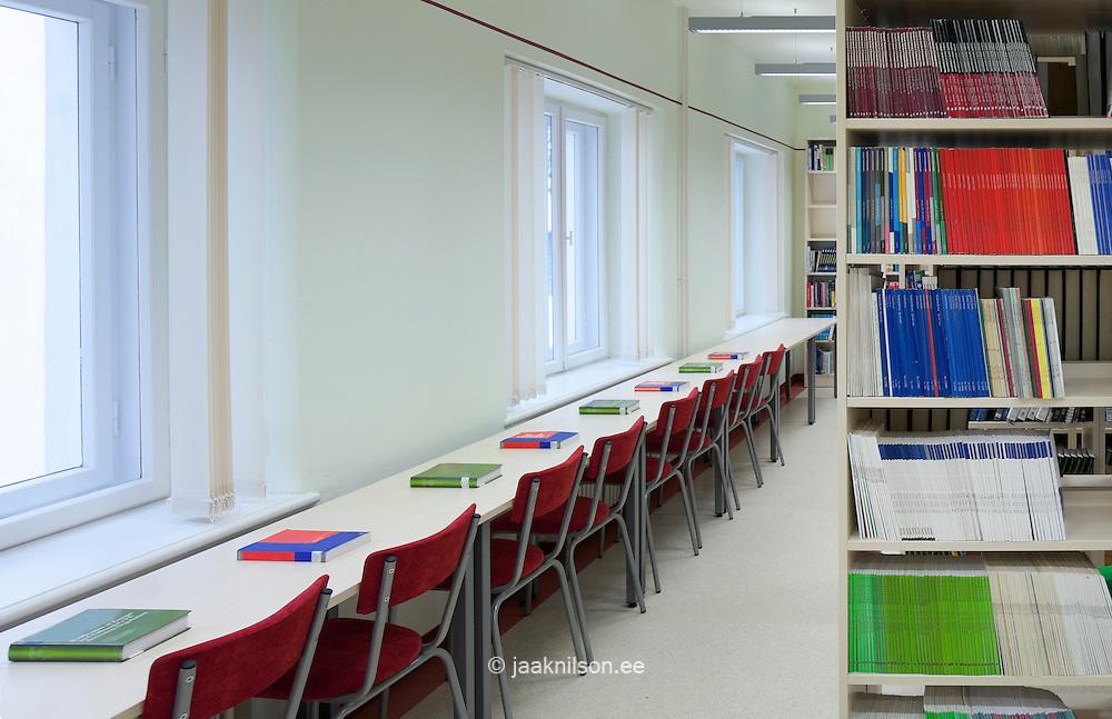 Desk and bookshelves in library of Tartu University, Estonia