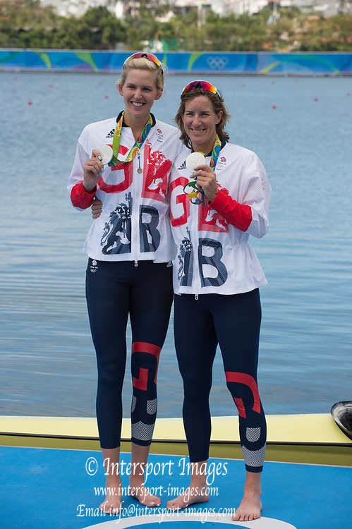 Rio de Janeiro. BRAZIL. GBR W2X Silver Medalist. Left and Bow, Vicky THORNLEY and Katherine GRAINGER  2016 Olympic Rowing Regatta. Lagoa Stadium,<br />