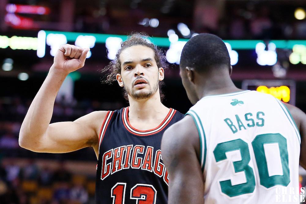 18 January 2013: Chicago Bulls center Joakim Noah (13) is seen during the Chicago Bulls 100-99 overtime victory over the Boston Celtics at the TD Garden, Boston, Massachusetts, USA.