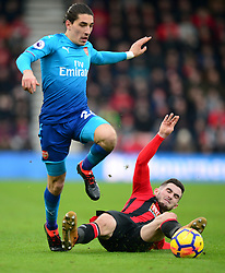 Hector Bellerin of Arsenal is tackled by Lewis Cook of Bournemouth - Mandatory by-line: Alex James/JMP - 14/01/2018 - FOOTBALL - Vitality Stadium - Bournemouth, England - Bournemouth v Arsenal - Premier League