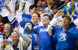 Fans of Finland during ice-hockey match between Germany and Finland of Group E in Qualifying Round of IIHF 2011 World Championship Slovakia, on May 6, 2011 in Orange Arena, Bratislava, Slovakia. (Photo By Vid Ponikvar / Sportida.com)