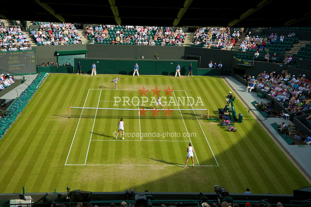 LONDON, ENGLAND - Wednesday, June 24, 2009: Laura Robson (GBR) and Georgie Stoop (GBR) take on Jade Curtis (GBR) and Anna Smith (GBR) during the Ladies' Doubles 1st Round match on day three of the Wimbledon Lawn Tennis Championships at the All England Lawn Tennis and Croquet Club. (Pic by David Rawcliffe/Propaganda)
