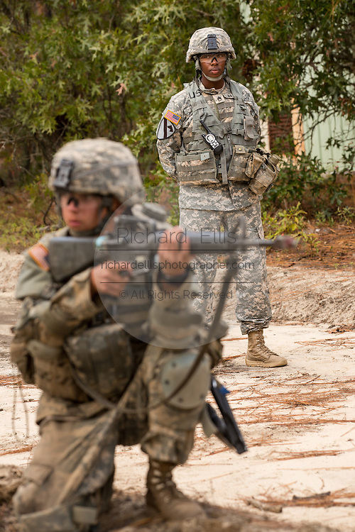 A woman Drill Sergeant observes her recruits during basic combat training at Fort Jackson September 27, 2013 in Columbia, SC. While 14 percent of the Army is women soldiers there is a shortage of female Drill Sergeants.