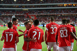 August 21, 2018 - Lisbon, Portugal - Benfica's Portuguese midfielder Pizzi (21 ) celebrates with teammates after scoring during the UEFA Champions League play-off first leg match SL Benfica vs PAOK FC at the Luz Stadium in Lisbon, Portugal on August 21, 2018. (Credit Image: © Pedro Fiuza via ZUMA Wire)