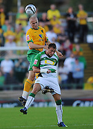 Yeovil - Tuesday, August 11th, 2009: Sam Williams of Yeovil and Jens Berthel Askou of Norwich City during the Carling Cup 1st Round match at Yeovil. (Pic by Alex Broadway/Focus Images)