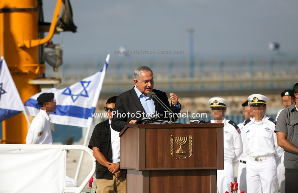 Israeli Prime Minister Benjamin (Binyamin) Bibi Netanyahu at the arrival of the new Israeli Navy INS Tannin (Dolphin class) submarine from Germany in Haifa on September 23 2014