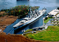 Aerial Photograph of WWII USS North Carolina dry docked outside of Wilmington, NC